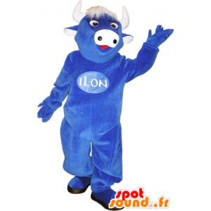 Mucca mascotte blu con i capelli bianchi e le corna