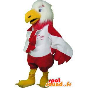Maskotti valkoinen ja punainen kotka, pörröinen ja hauska - MASFR032463 - maskotti lintuja