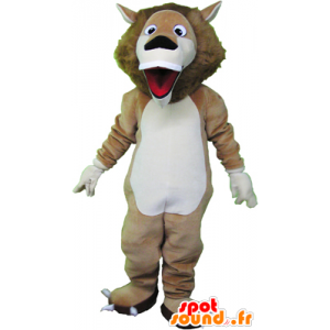 Beige lion mascot and very funny white - MASFR032466 - Lion mascots