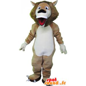 Beige mascotte leone e bianco molto divertente - MASFR032466 - Mascotte Leone