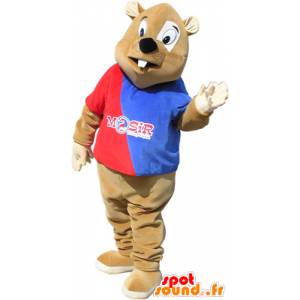 Brown beaver mascot outfit with a red and blue
