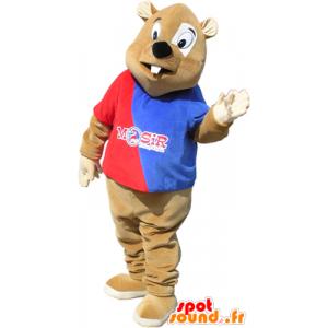 Mascotte de castor marron avec une tenue rouge et bleue