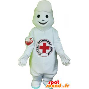 Weißer Schneemann-Maskottchen mit einem roten Kreuz auf dem Bauch - MASFR032474 - Menschliche Maskottchen