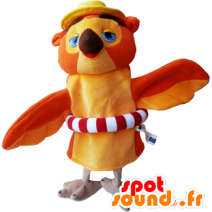 Orange og beige ugle maskot med en bøye - MASFR032475 - Mascot fugler