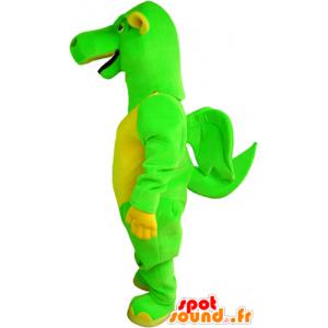 Grüne und gelbe Drachen-Maskottchen mit kleinen Flügeln - MASFR032478 - Dragon-Maskottchen