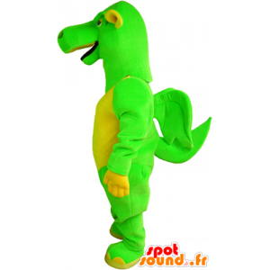 La mascota dragón verde y amarillo con pequeñas alas - MASFR032478 - Mascota del dragón