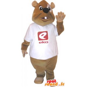 Brown beaver mascot with a white shirt