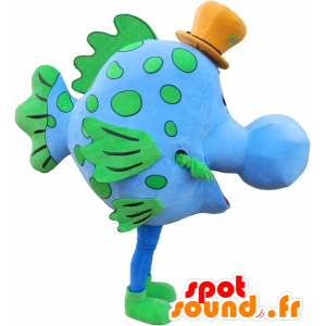 Blu e verde mascotte dei pesci con un cappello - MASFR032483 - Pesce mascotte