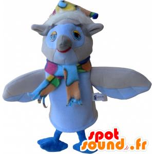 Beżowy i biały sowa maskotka z szalikiem i kapeluszem - MASFR032485 - ptaki Mascot