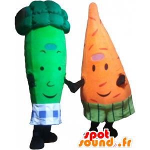 2 mascottes: une carotte et un brocoli vert - MASFR032487 - Mascotte de légumes