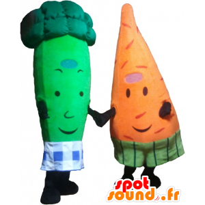 2 pets: a carrot and a green broccoli - MASFR032487 - Mascot of vegetables
