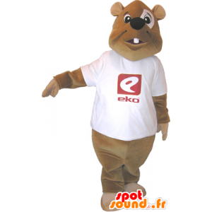 Brown beaver mascot with a white shirt - MASFR032489 - Beaver mascots