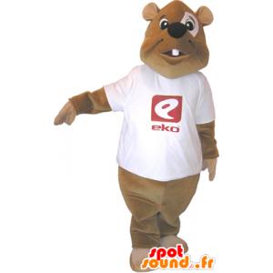 Mascotte castoro marrone con una camicia bianca - MASFR032489 - Castori mascotte