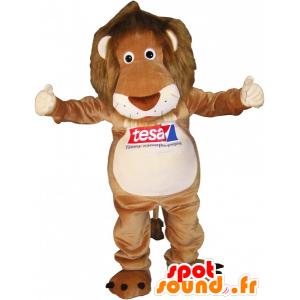Mascotte marrone e beige tigre con la criniera pelosa - MASFR032491 - Mascotte tigre