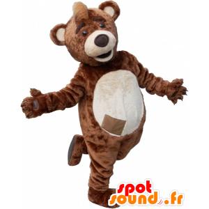 Mascotte de nounours marron et beige avec une crête sur la tête - MASFR032492 - Mascotte d'ours