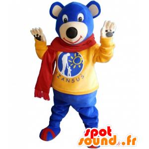 Sininen nalle maskotti keltaisella pusero ja huivi - MASFR032493 - Bear Mascot