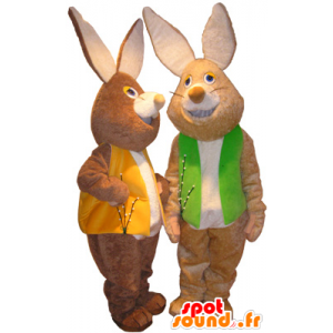 2 mascots brown and white rabbits with colored vests - MASFR032496 - Rabbit mascot