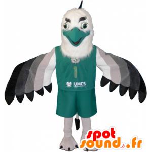 Maskotka orzeł, sęp biały, ubrany w czarno-szarej zieleni - MASFR032497 - ptaki Mascot