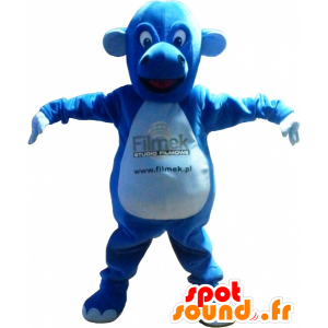Blue creature mascot, dragon, cute and plump - MASFR032499 - Dragon mascot