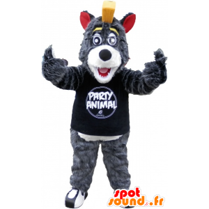 Gray and white wolf mascot with a yellow crest - MASFR032500 - Mascots Wolf