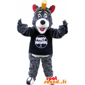 Cinzenta e branca mascote lobo com uma crista amarela - MASFR032500 - lobo Mascotes