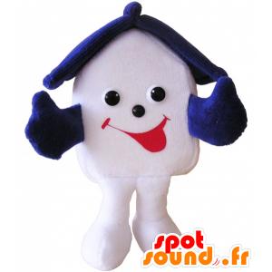 Mascotte de maison blanche et bleue très souriante