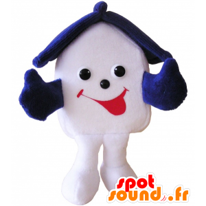 Weiße Haus Maskottchen lächelnd und sehr blau - MASFR032504 - Maskottchen von Objekten