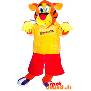 Mascota de tigre anaranjado vestida de rojo y amarillo - MASFR032508 - Mascotas de tigre
