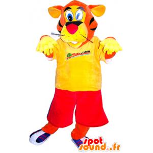 Orange Tiger-Maskottchen in rot gekleidet und gelb - MASFR032508 - Tiger Maskottchen