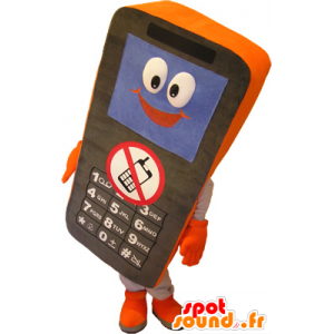 Cell Phone Black and orange mascot - MASFR032509 - Mascottes de téléphone