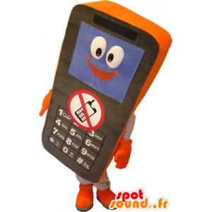 Mobiele telefoon zwart en oranje mascotte