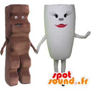 2 animali: un candy bar e una tazza bianca - MASFR032512 - Mascotte di fast food