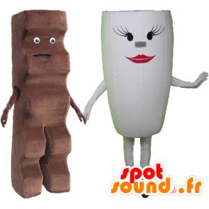 2 mascottes: une barre chocolatée et une tasse blanche - MASFR032512 - Mascottes Fast-Food