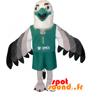 Eagle mascot white, gray and black with pretty feathers - MASFR032515 - Mascot of birds