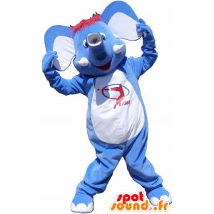 Blu mascotte e elefante bianco, divertimento - MASFR032519 - Mascotte elefante