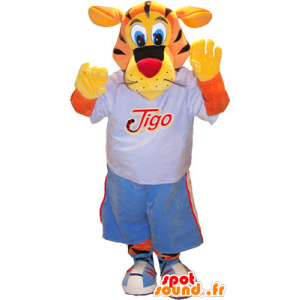Tigo tiger mascot, orange and yellow dressed in blue sports - MASFR032522 - Sports mascot