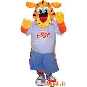 Tiger Mascot Tigo, laranja e amarelo vestido em esportes azuis - MASFR032522 - mascote esportes