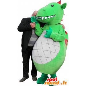 Mascotte drago verde, bianco e rosso con grandi denti - MASFR032523 - Mascotte drago