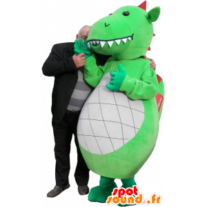 Groene draak mascotte, wit en rood met grote tanden - MASFR032523 - Dragon Mascot