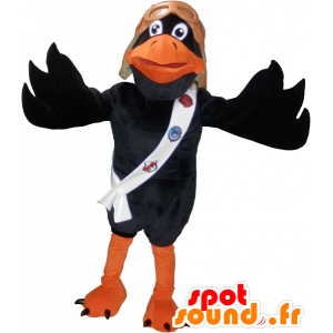 Orange and black raven mascot with a pilot's helmet - MASFR032526 - Mascot of birds