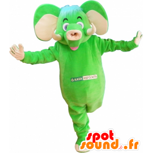 Mascot green and beige elephant, fun and colorful - MASFR032530 - Elephant mascots