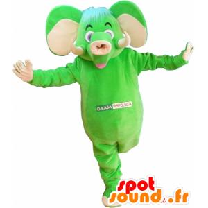 Mascotte verde e beige elefante, divertente e colorato - MASFR032530 - Mascotte elefante