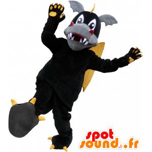 Μαύρος Δράκος μασκότ, κίτρινο και πολύ χαριτωμένο γκρι - MASFR032532 - Δράκος μασκότ