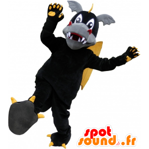 Black Dragon mascot, yellow and cute gray - MASFR032532 - Dragon mascot