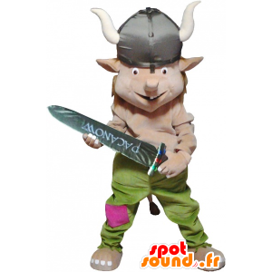 Mascotte de lutin habillé en tenue de Viking - MASFR032533 - Mascottes Noël