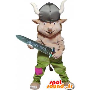 Krasnoludek maskotka ubrana w jednolitym Viking - MASFR032533 - Boże Maskotki