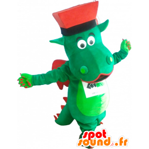Green and red dragon mascot with a hat - MASFR032535 - Dragon mascot
