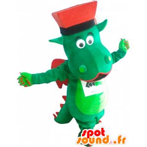 La mascota dragón verde y rojo con un sombrero - MASFR032535 - Mascota del dragón