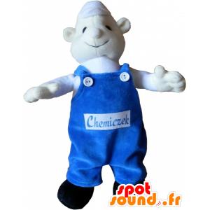 Valkoinen Lumiukko Mascot kanssa sininen haalari - MASFR032536 - Mascottes Homme