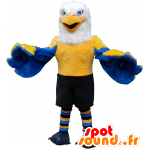 Eagle mascot blue, yellow and white in sportswear - MASFR032537 - Sports mascot